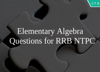 Elementary Algebra Questions for RRB NTPC