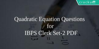 Quadratic Equation Questions for IBPS Clerk Set-2 PDF