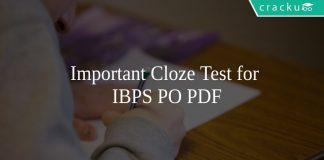 Important Cloze Test for IBPS PO PDF