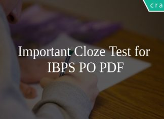 Important Cloze Test for IBPS PO PDF