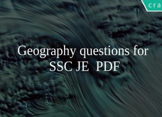 Geography questions for SSC JE PDF