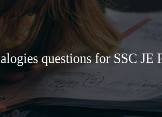 Analogies questions for SSC JE PDF