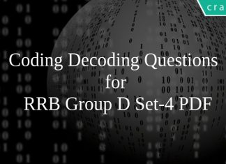 Coding Decoding Questions for RRB Group D Set-4 PDF