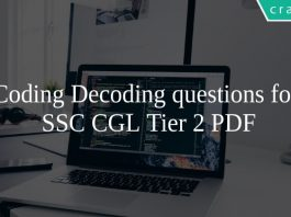 Coding Decoding questions for SSC CGL Tier 2 PDF