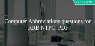 Computer Abbreviations questions for RRB NTPC PDF