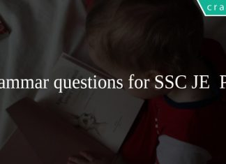 Grammar questions for SSC JE PDF