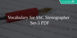 Vocabulary for SSC Stenographer Set-3 PDF