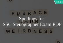Spellings for SSC Stenographer Exam PDF