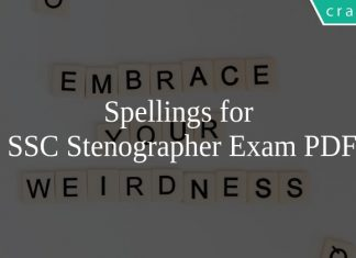 Spellings for SSC Stenographer Exam PDF