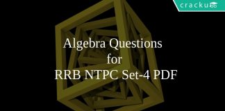 Algebra Questions for RRB NTPC Set-4 PDF