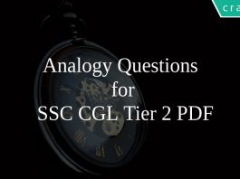 Analogy Questions for SSC CGL Tier 2 PDF