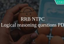 RRB NTPC Logical reasoning questions PDF