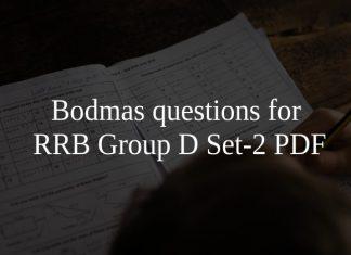 Bodmas questions for RRB Group D Set-2 PDF