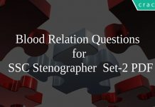 Blood Relation Questions for SSC Stenographer Set-2 PDF