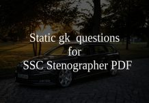 Static gk questions for ssc stenographer PDF