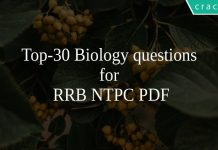 Top-30 Biology questions for RRB NTPC PDF