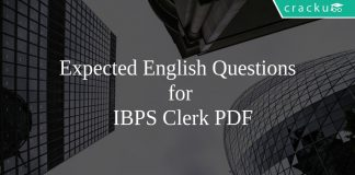 Expected English Questions for IBPS Clerk PDF