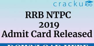 RRB NTPC 2019 Admit Card