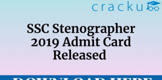 ssc stenographer 2019 admit card