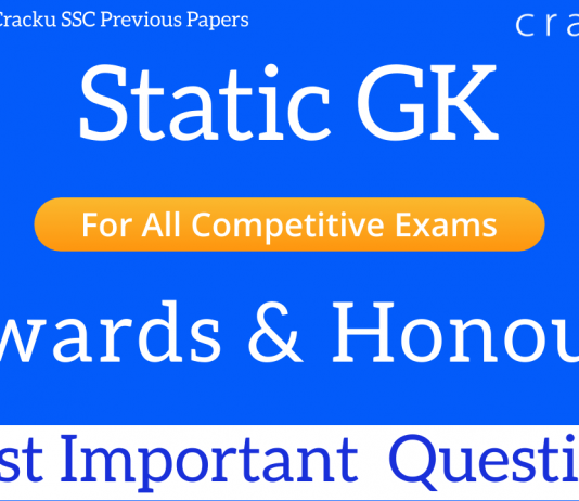 important gk questions on awards and honours