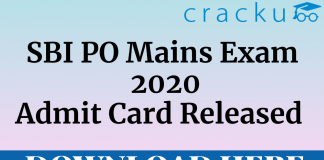 SBI PO Mains 2020 Admit Card