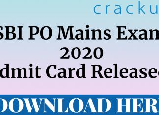 SBI PO Mains 2020 Admit Card