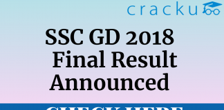 ssc gd 2018 final result out