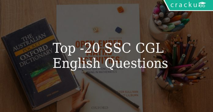 Top 20 SSC CGL English Questions