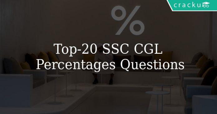 Top 20 SSC CGL Percentages Questions