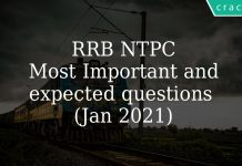 RRB NTPC Most Important and expected questions