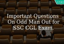 Important questions on Odd Man Out for SSC CGL Exam.