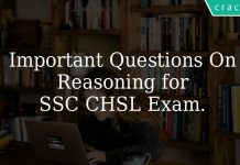 important questions on reasoning for ssc chsl exam.