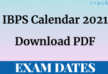 IBPS Calendar 2021 PDF Download