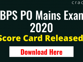 IBPS PO Mains Score Card