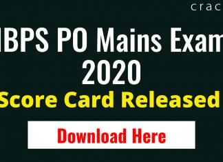 IBPS PO Mains Score Card