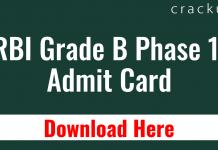 RBI Grade b Admit card