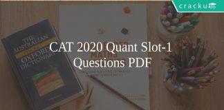 CAT 2020 Quant slot-1 questions pdf