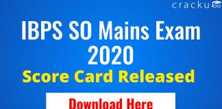 IBPS SO Mains Score Card