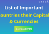 List of Important Countries their Capitals and Currencies - DownloadPDF