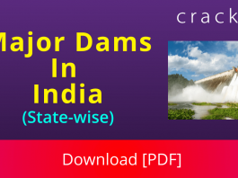 List of India Major Dams Download PDF