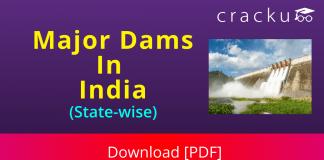 List of India Major Dams Download PDF