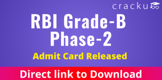 RBI Grade B Admit Card for Phase 2 2021