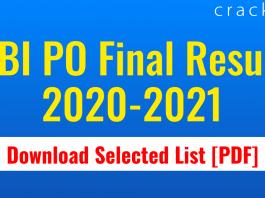 SBI PO Final Result 2020