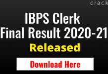 IBPS Clerk Mains Result 2020-21
