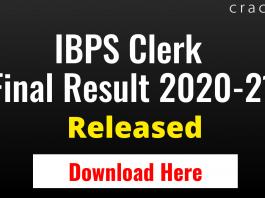 IBPS Clerk Mains Result 2020-21