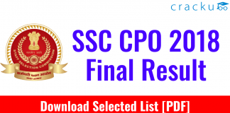 SSC CPO SI 2018 Final Result