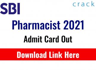 SBI Pharmacist 2021 admit card