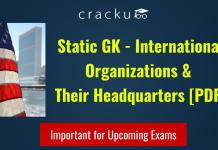 International Organizations & Their Headquarters PDF