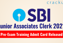SBI JA Clerk Exam 2021 - Pre-Exam Training Admit Card Released