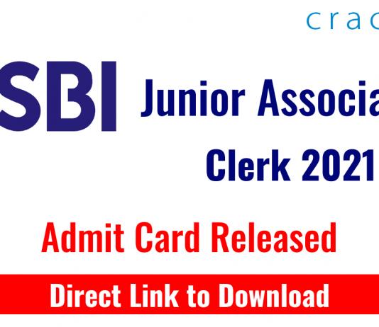 SBI JA Clerk Exam 2021 - Preliminary Exam Admit card